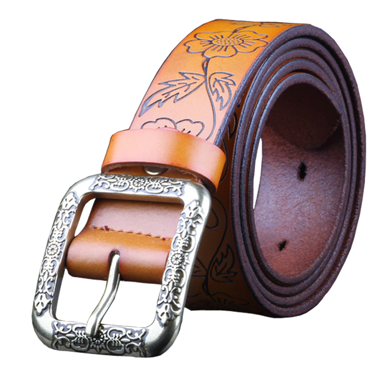 Fashion Vintage Genuine leather belt woman Luxury Designer wide Floral belts women Second Layer Cow skin strap for Jeans female(China (Mainland))