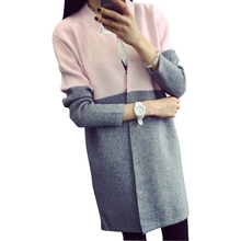 Buy GZ HOUSE Patchwork Long Knitted Sweater Women Long Sleeve Casual Loose Cardigan Lady Thick Warm Outwear Jacket for $17.99 in AliExpress store