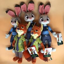 22-28cm Newest Zootopia Police Rabbit Judy Hopps and Fox Nick Wilde Movie Kids Stuffed Animal Plush Toy Cartoon Doll Baby Gift