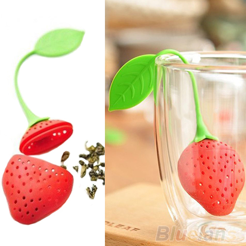 Гаджет  Silicone Strawberry Design Loose Tea Leaf Strainer Herbal Spice Infuser Filter Tools 01O9 None Дом и Сад