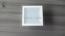 Free shipping 6W glass square White LED Recessed Ceiling Down Light  SMD5730 12LED, 85-265W led ceiling light 20pcs/lot(China (Mainland))