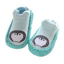 Носки для новорожденных с резиновой подошвой для маленьких мальчиков и девочек; сезон осень-зима; детские носки-тапочки; противоскользящая ...(China)