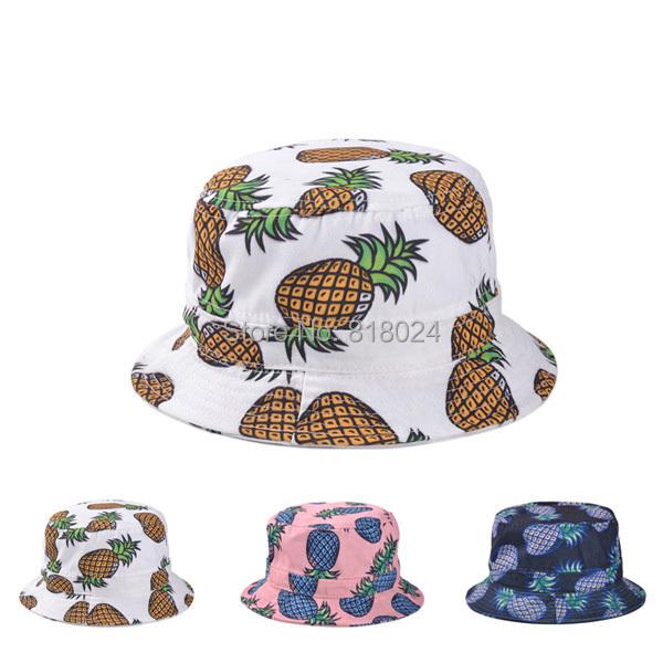 3 цветов 2015 новинка прекрасный летний белый ананас печатные шлемов ведра для женщин / девочек