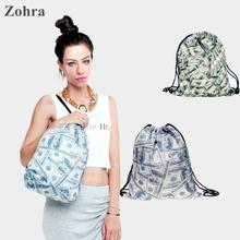 Dollar money 3D printing Women's Men's Gym Bags mochila feminina bolso de lazo Travel Handbag Rucksack drawstring bag backpacks
