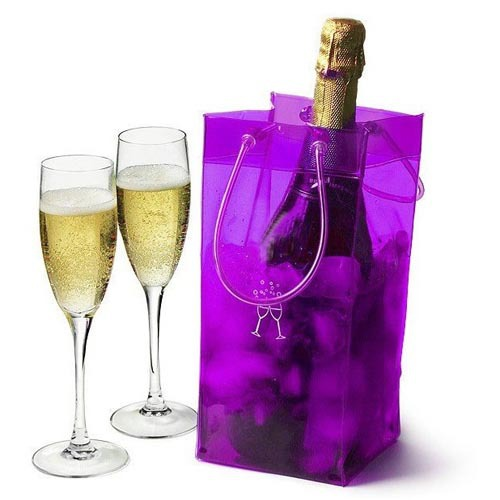 Free shipping HIGH QUALITY! wholesale 18pcs/lot PVC Ice Bag for Wine 11*11*25CM Blue and Black colors(China (Mainland))