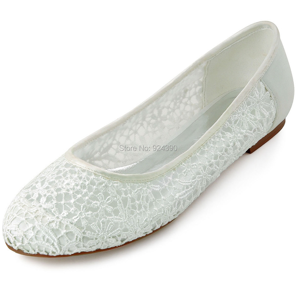 New Style FC1506 Women Satin Lace Ivory Flats Wedding ...