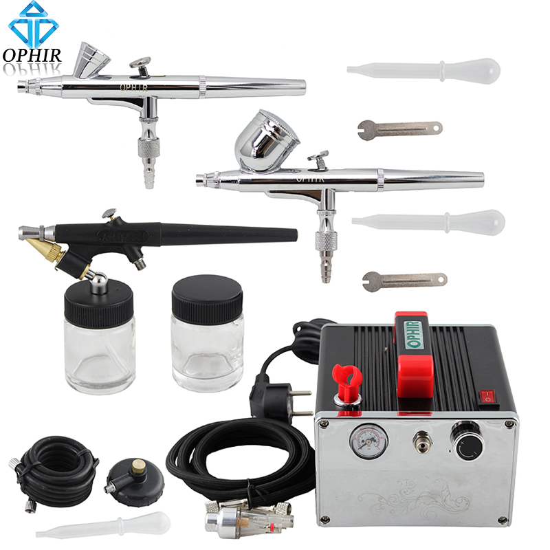 2015 OPHIR Professional 3 Gun Airbrush Dual-Action & Single-Action Kits Air Compressor for Temporary Tattoo #AC091+004A+071+073