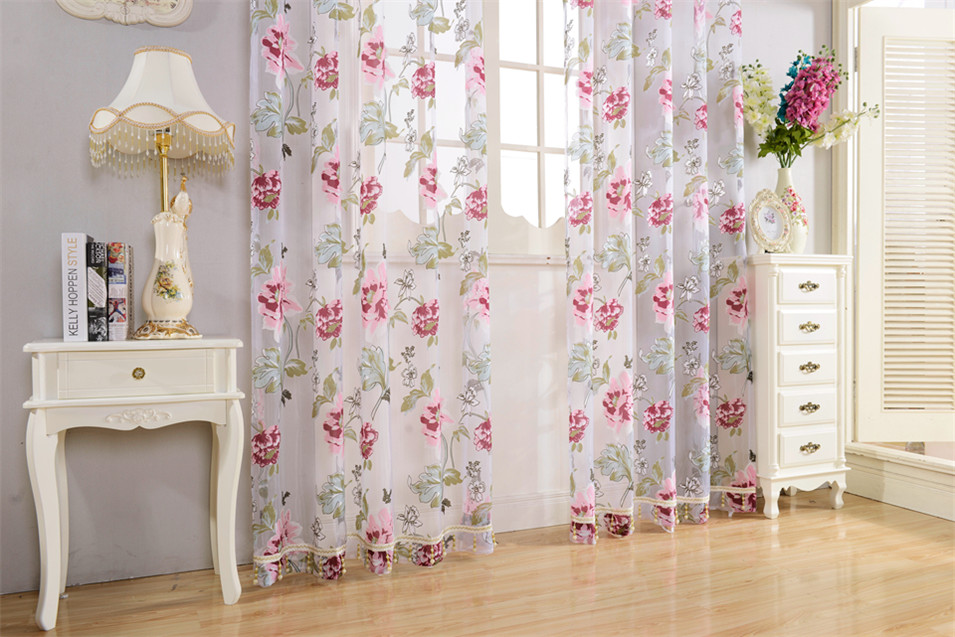 Floral Window Tulle Curtains for Living Room Bedroom Sheer Curtains for The Kitchen Finished Tulle Curtains for Window Drapes
