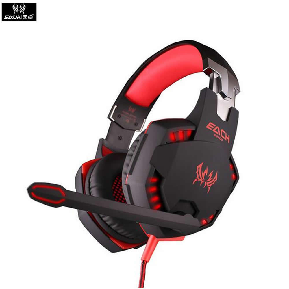 KOTION EACH G2100 Vibration Function Professional Gaming Headphone Games Headset with Mic Stereo Bass LED Light for PC Game LOL(China (Mainland))