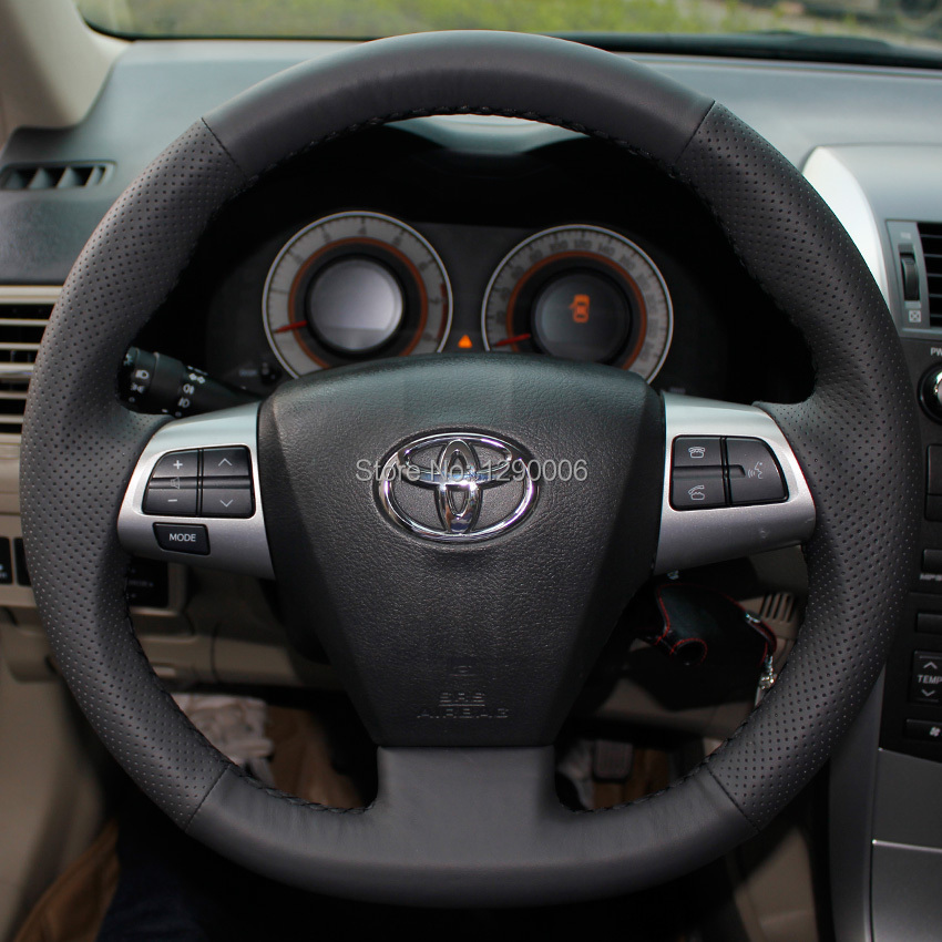 black artificial leather car steering wheel cover for. Black Bedroom Furniture Sets. Home Design Ideas