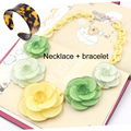 2016 Exquisite Acrylic Flower Choker Necklaces bracelet Jewelry sets for Women Brand Statement ZA Necklace Collier