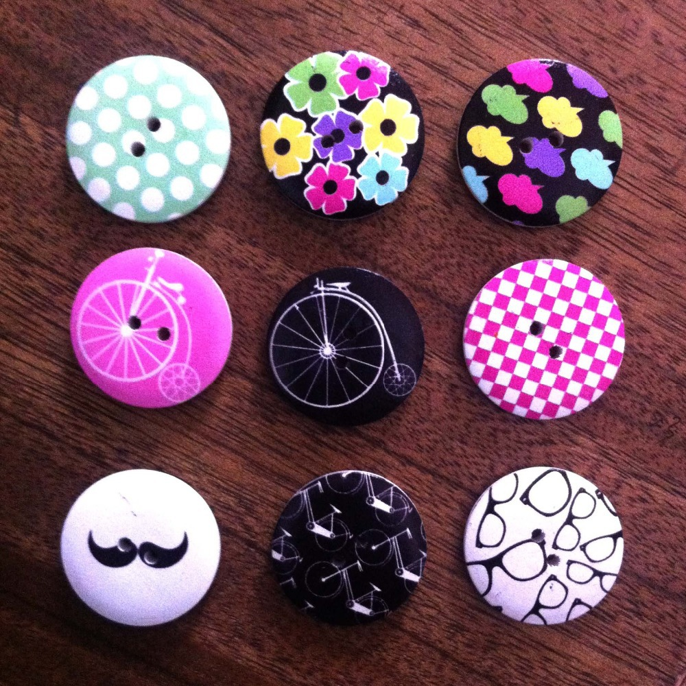 10Random Mixed Wood Sewing Buttons Scrapbooking Print Snail 2 Holes 30mm - Mony Shop store