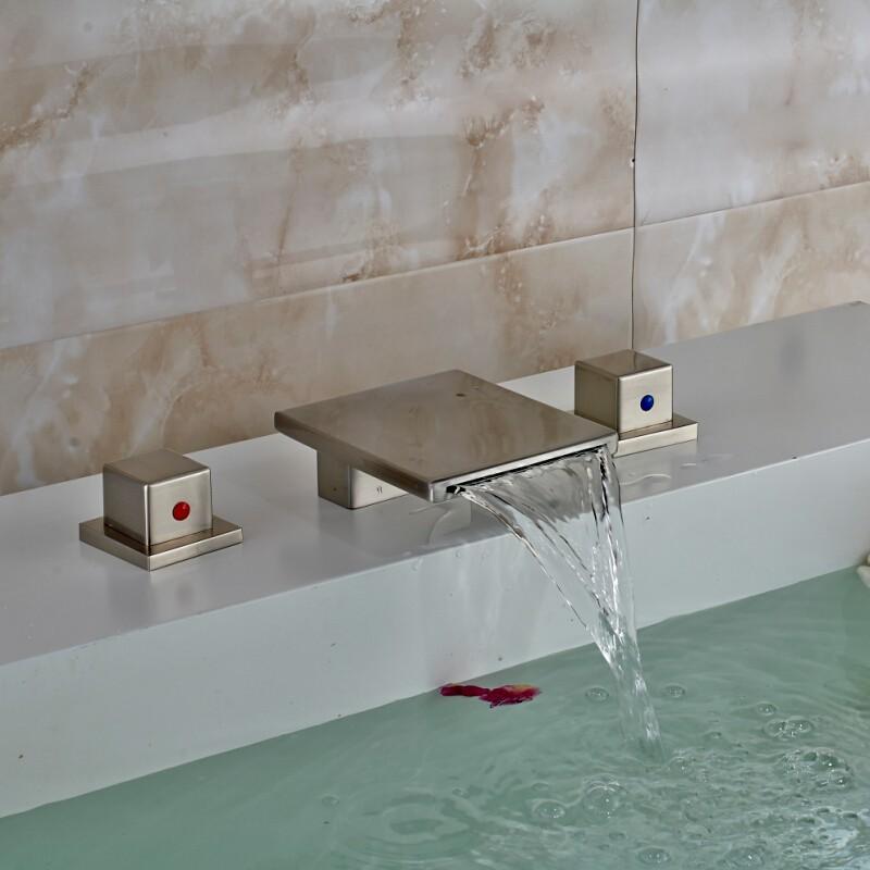 Купить Дизайнер 3 Шт. Широкое Водопад Бассейне Краны На Бортике Две Ручки Ванная Комната Сосуд Раковина, Краны