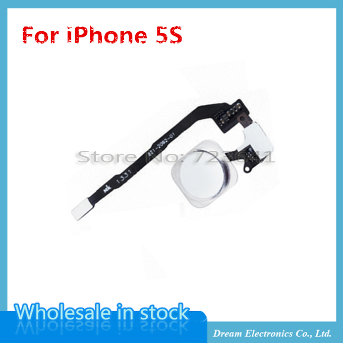 20pcs/lot High Quality NEW Black/White/Gold Home Button with Flex Cable Assembly for iPhone 5S Free shipping(China (Mainland))