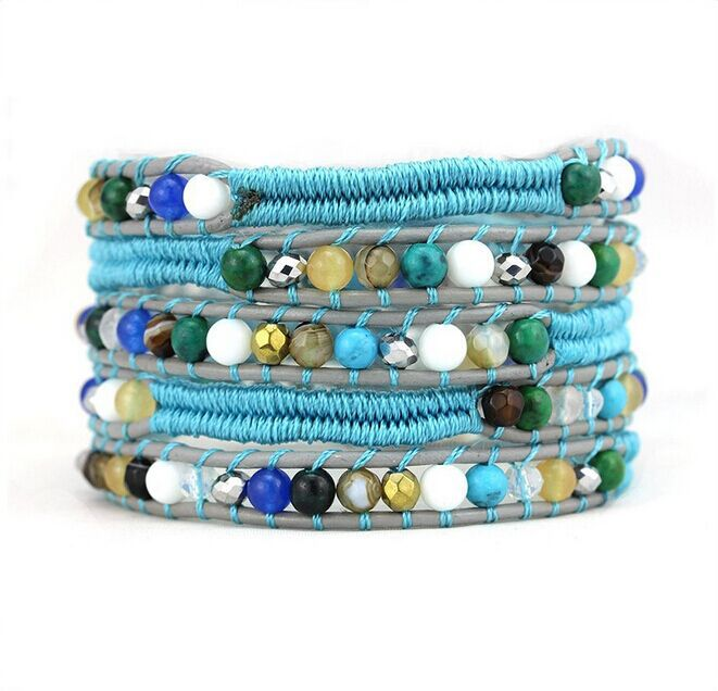 Natural Blue Turquoise & Mother of Pearl Silver Gold Beads Blue Rope On Gray Genuine Leather 5 Wrap Bracelet DIY Handmade(China (Mainland))