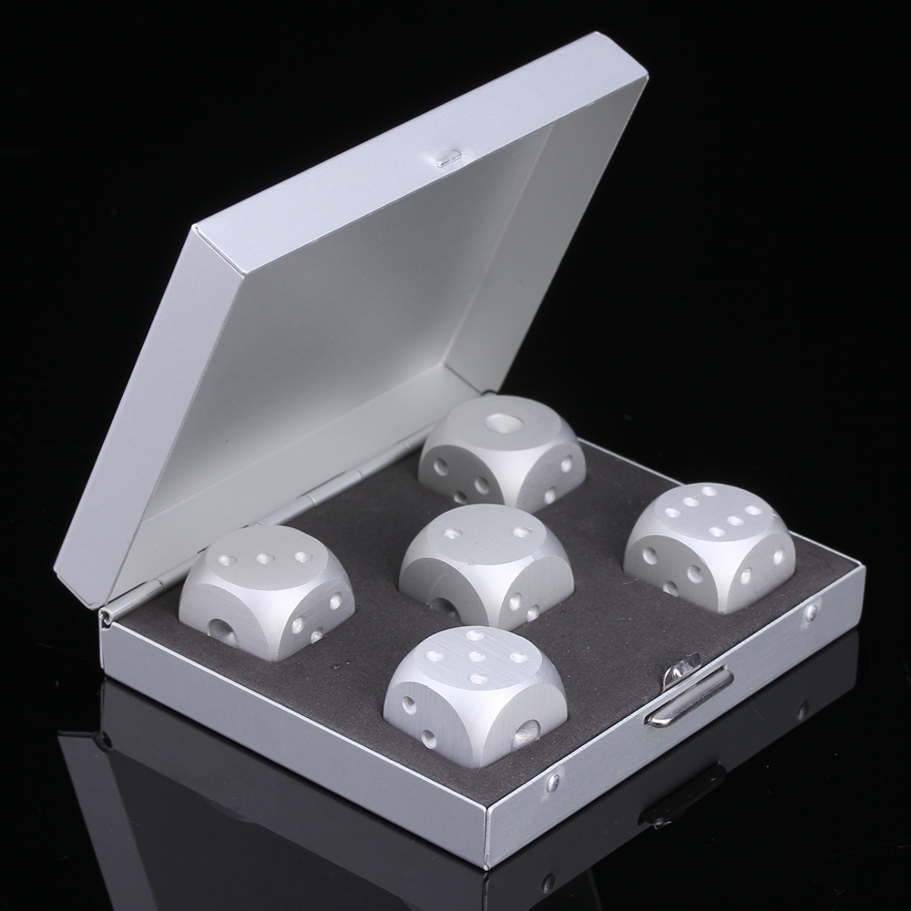 5 in 1 Precision Aluminum Alloy Solid Metal Dice Poker Party Game Toy Dominoes Table Board Game Portable Dice Man Boyfriend Gift(China (Mainland))