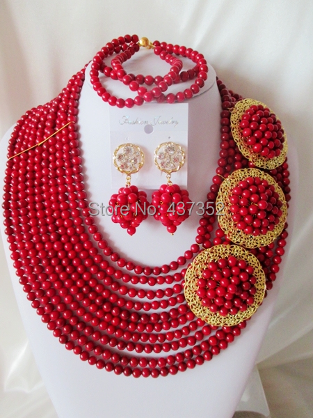 Wonderful Nigerian Wedding African Coral  Beads Jewelry Set Free Shipping CPS3801<br><br>Aliexpress