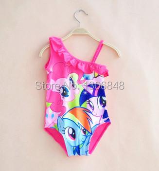 New 2015 Girls Kids children my Swimsuit Tankini one piece little Swimwear Fashion Beachwear swim wear ponies biquini infantil