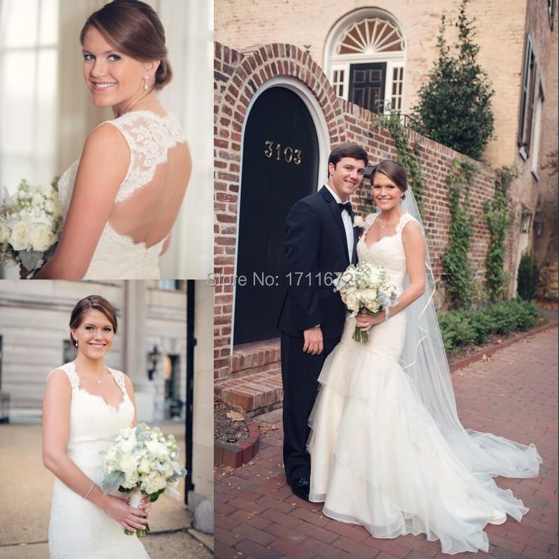 Vestido Casamento платье 2014 свадьбы тюль кружева милая кап-рукава замочная скважина одеяние де Mariage лонго Trumpeted