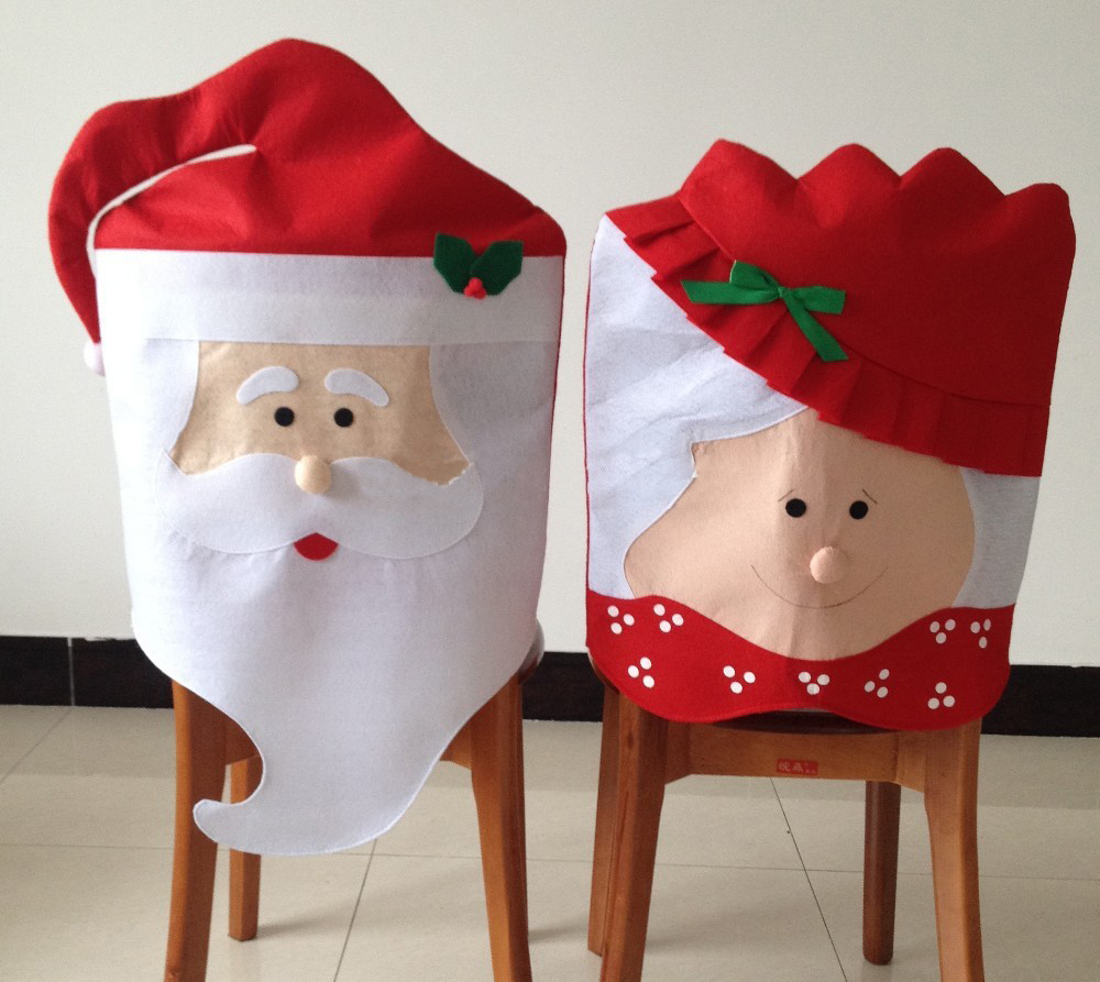New Mr & Mrs Santa Claus Christmas Dining Room Chair Cover Home Party Decoration H1259(China (Mainland))
