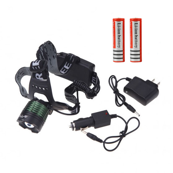 2000lm CREE XML T6 LED Rechargeable Headlamp Head Light For Outdoor Camping Hunting Fishing+2*18650 Batttery+Charger/Car Charger