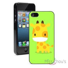 Cartoon Giraffe Green Protector back skins mobile cellphone cases for iphone 4/4s 5/5s 5c SE 6/6s plus ipod touch 4/5/6