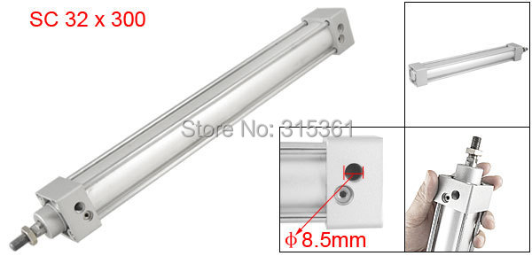Free Shipping 300mm Stroke 32mm Bore Single Screwed Piston Rod 32 x 300 Dual Action Pneumatic