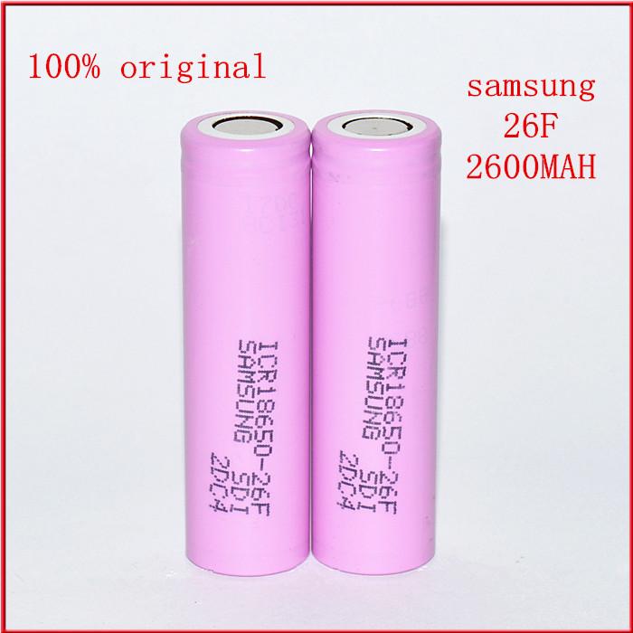 12600mAh Original Samsung 18650 26F rechargeable li-ion Lithium Battery 10x ICR18650 2600 mAH batteries I+Free Shopping - ayn-shop store
