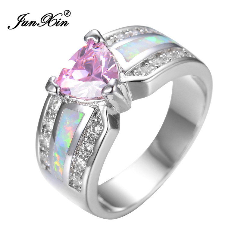 Elegant Fashion Pink Heart Female Opal Ring White Gold Filled Jewelry Vintage Party Engagement Wedding Rings For Women RP0029(China (Mainland))