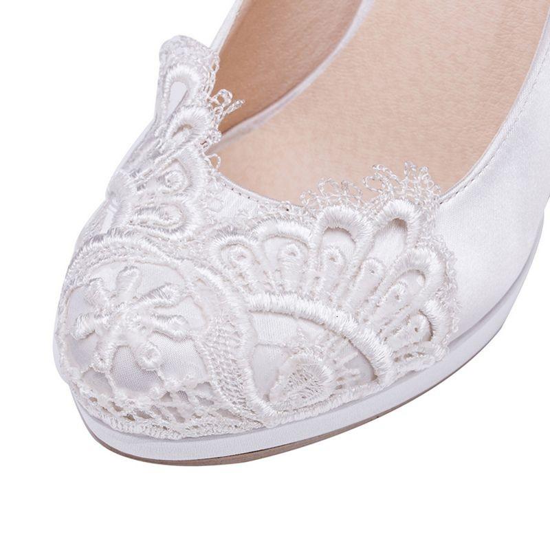 Custom White/Ivory Lace Women Wedding Shoes Round Toes High Heels Platform Shoes Women Pumps Size EU34-41   JM614