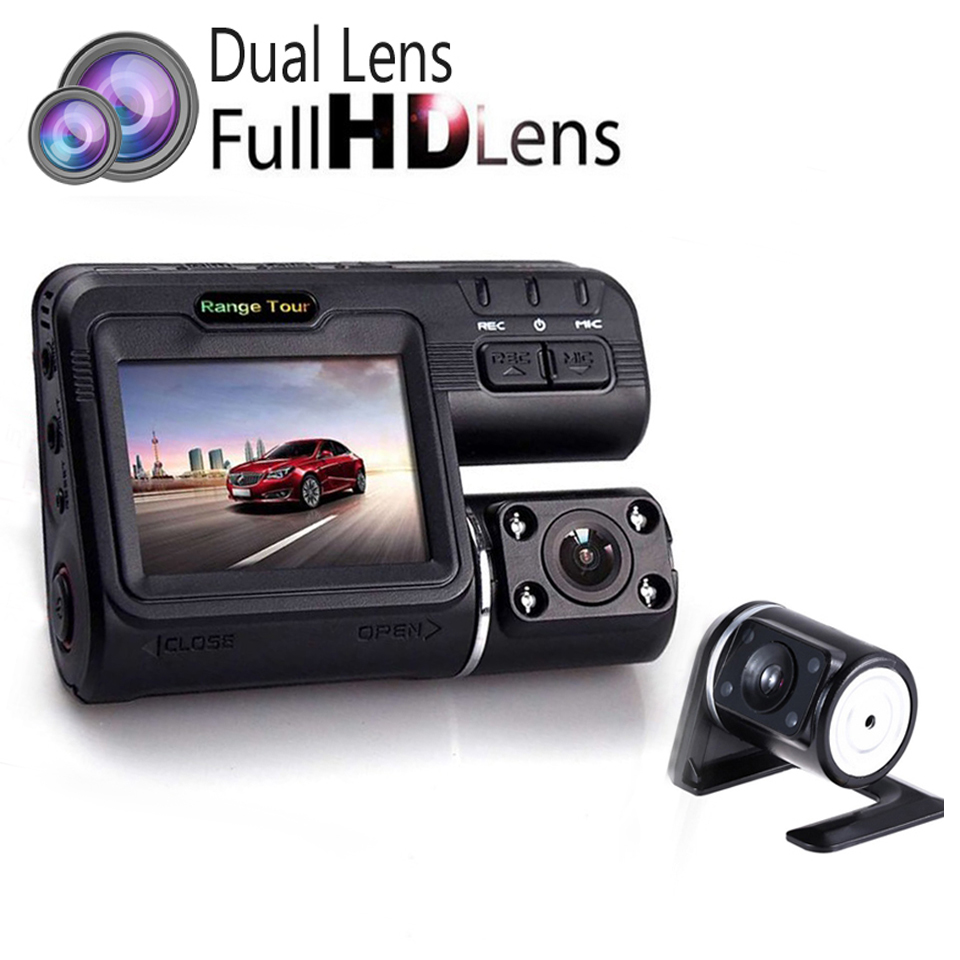 """New Dual Lens Car DVR Camera Full HD 1080P Dash Cam 2.0""""LCD With 8 LED Light Night Vision H.264 Video Registrator Recorder(China (Mainland))"""