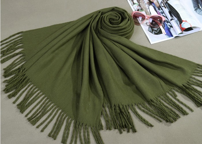 Sale New Winter Army Green Chinese Women's Cashmere Shawl Scarf New Thick Warm Wrap 018(China (Mainland))