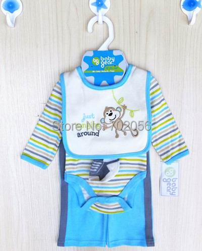 4 pcs set Baby long Sleeve Bodysuits pant bibs socks infant boy Girl Clothes 12sets/lot#3683<br><br>Aliexpress