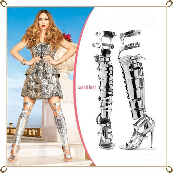 Фотография Summer Style Hot selling gold silver black beige metalic shiny leather high heel long sandal boot buckle strappy cut-outs design