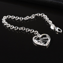 Free Shipping Wholesale plating silver bracelet, plating silver fashion jewelry GU Peach Heart Bracelet GSSPH007(China (Mainland))