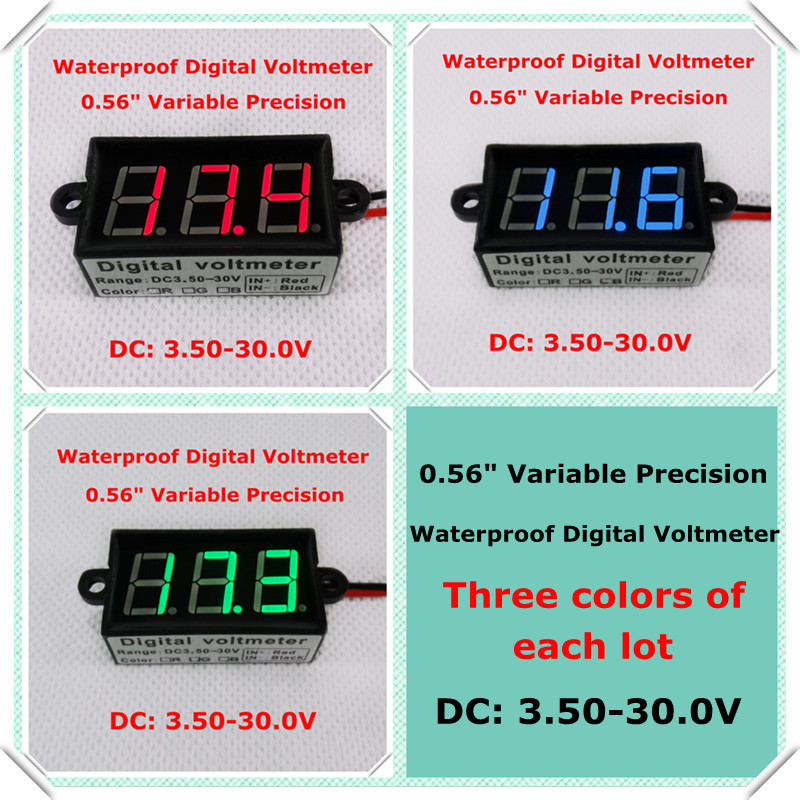 "Blue/Green/Red led Display 0.56"" variable precision Digital Voltmeter DC3.5-30V Vehicle car Waterproof Voltage Meter [3 pcs/lot](China (Mainland))"