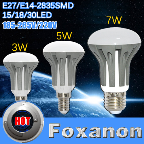 Foxanon Brand E14 E27 Dimmable Led lamps 3 5W 7W 220V Led Lights Ball Bulb 2835 SMD Candle Dimming leds lamp Light R39 R50 R63(China (Mainland))