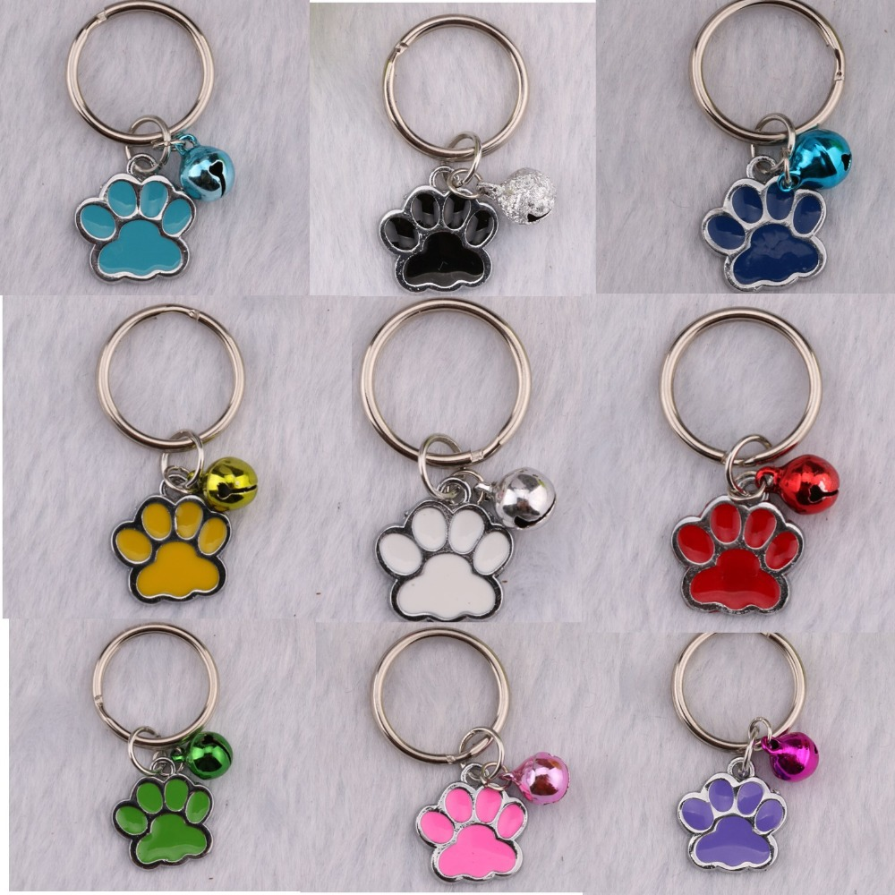 Mixed Drip Enamel Dog Cat Paw Prints Charm Keychain Christmas Gifts Keyring Copper Bell Decorative 20mm Key Chain  90pcs<br><br>Aliexpress