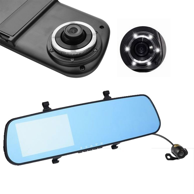 Recorder car mirror dvr 4.3 inches Dual Lens Camera rear view 1080p full HD cars carcam video rearview Night Vision auto camera(China (Mainland))