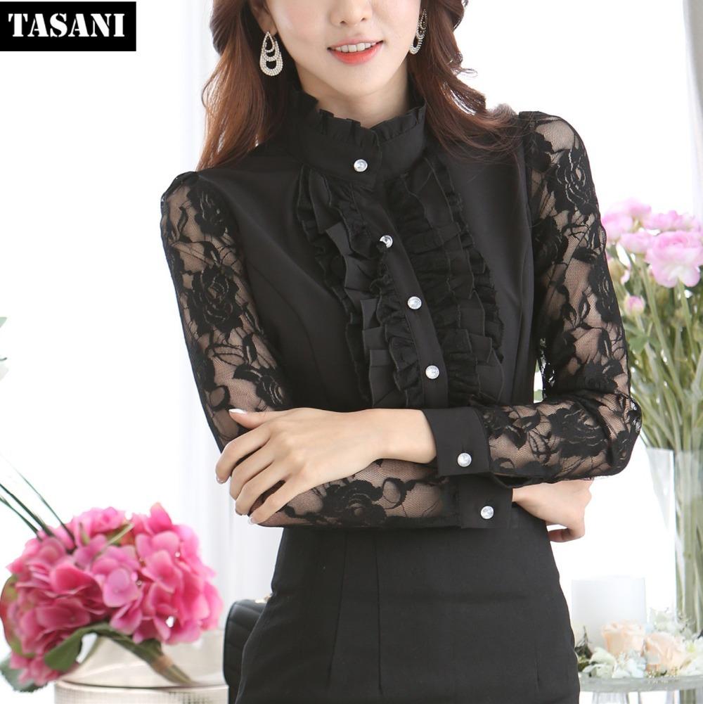 2015 Fashion Chiffon Women Blouse Shirts Plus Size Hollow Lace Patchwork Blouses Tops Woman Clothing V9085 - TASANI store