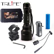 LED Flashlight XML-T6 8000LM Tactical Flashlight Aluminum Hunting Flash Light Torch Lamp +18650+Charger+Gun Mount(China (Mainland))
