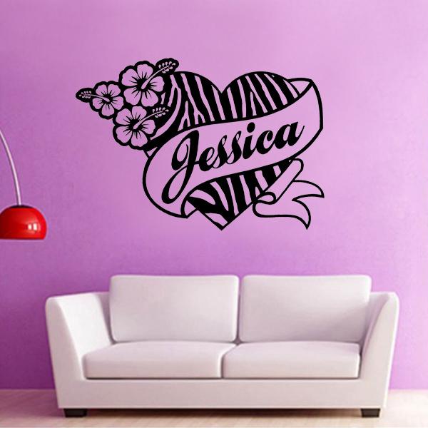 Custom name zebra print heart wall stickers girl bedroom for Custom vinyl mural prints
