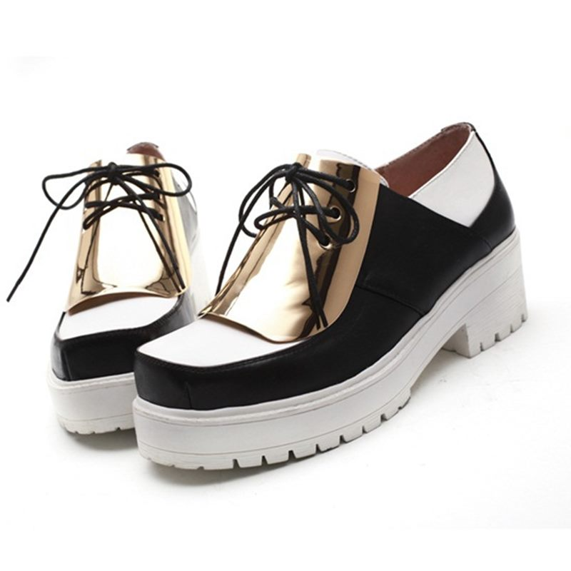 Sponge cake style design leather shoes spell zapatos mujer new color simple design  women loafers black sapatos femininos spring<br><br>Aliexpress
