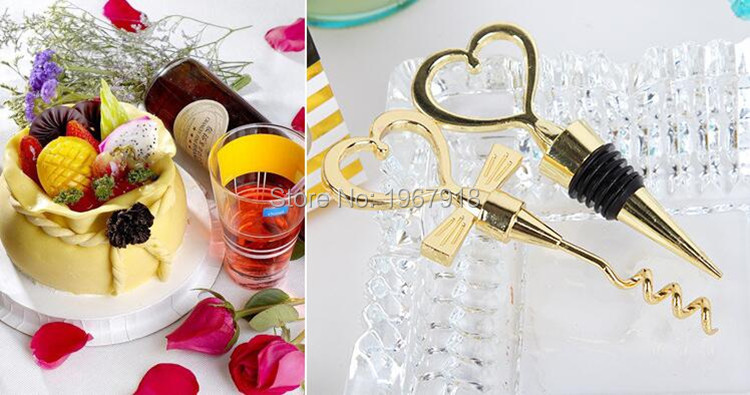 NEW Gold Color Bride and Groom Bottle Stopper and Opener Two Hearts Wine Favor Set Wedding Favor Wedding Souvenirs (10)