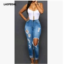 Buy LASPERAL New Arrival Women Sexy Pencil Pants Denim Skinny Pants High Waisted Zipper Fly Jeans Holes Ripped Slim Pants Plus Size for $13.40 in AliExpress store