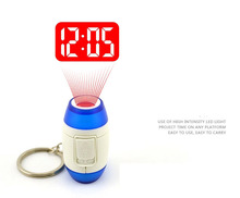 Mini LED Keychain Laser Digital Time clocks Light Projection Alarm Clock Projector Flashlight Torch(China (Mainland))