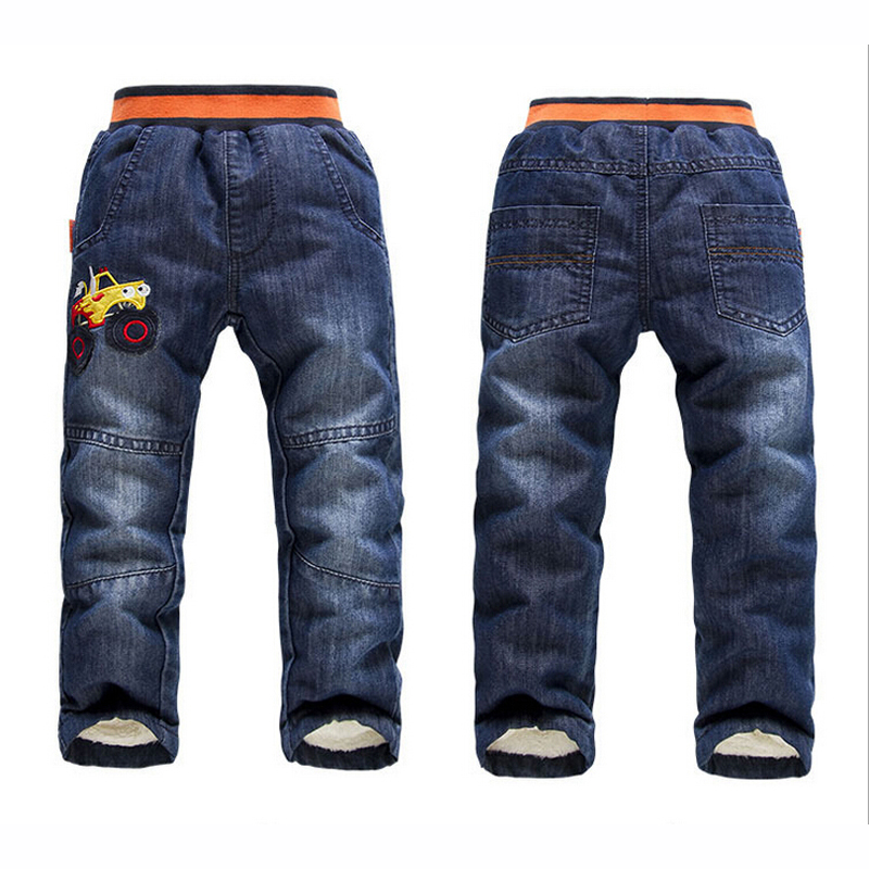 Baby Boys Jeans Pants New 2016 Autumn Winter Kids Trousers Embroidery Car Casual Boys Clothes Add Wool Thicken Children Clothing(China (Mainland))