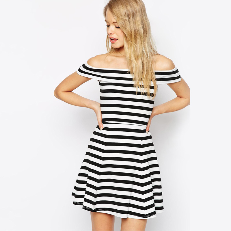 Summer Style 2015 New Fashion Striped Off The Shoulder Dress Women Spandex Knit Mini Dresses Fit and Flare Vestidos(China (Mainland))