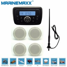 "Waterproof Marine Radio Audio Stereo Receiver  MP3 FM AM With Bluetooth Function+2Pair 6.5"" White marine Speaker+Antenna(China (Mainland))"
