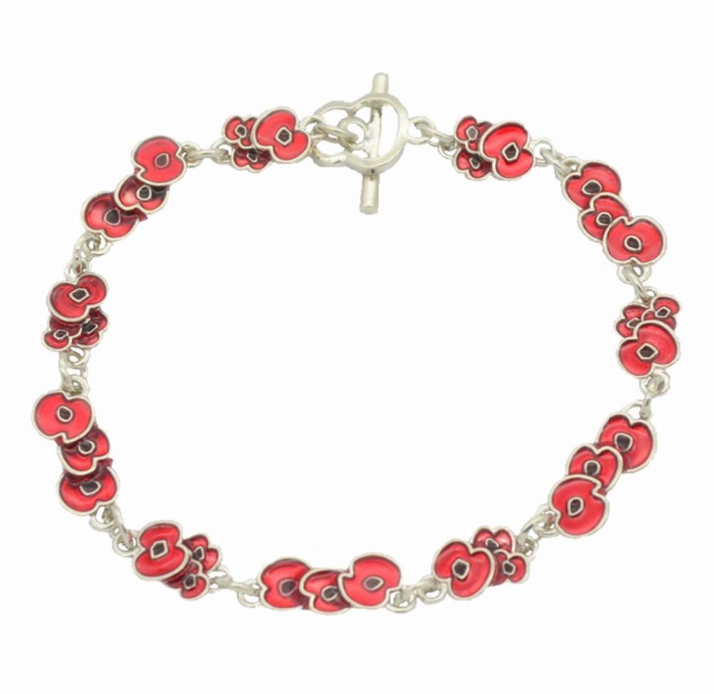 white gold tone poppy flower bracelet with red enamel